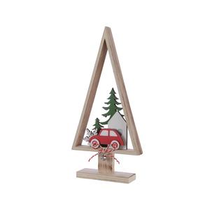 Arbre de Noël en bois avec voiture - 3x13.5x27 cm 942218