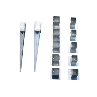 Support de fixation pour poteau à planter en acier galvanisé 7x7 cm 953339