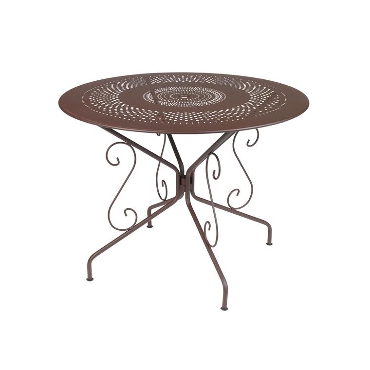 Table Montmartre Fermob en acier coloris rouille de Ø 96 cm 934105