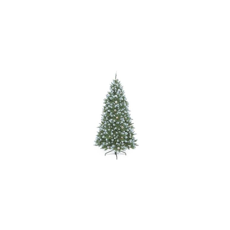 Sapin de Noël artificiel vert givré avec pommes de pin 155 cm 951149