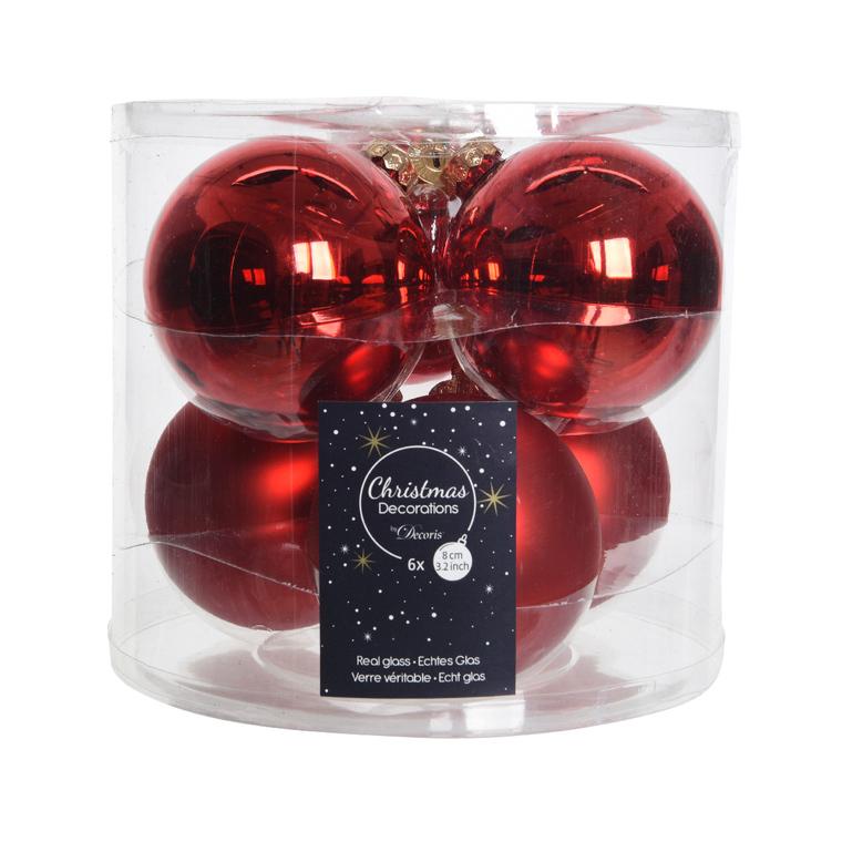 Boite de 6 boules de couleur rouge brillant et mat – Ø 8 cm