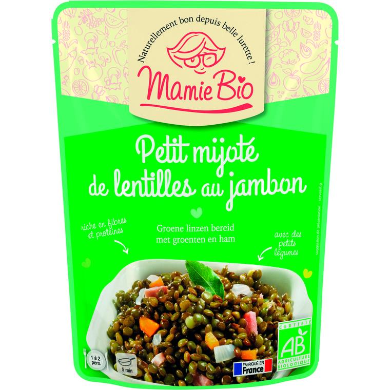 Lentilles vertes cuisinées et jambon bio 250 g 974480