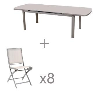 Ensemble repas Keneah gris clair avec 8 chaises L000080