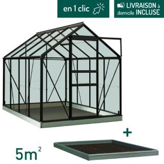 Serre verre 5 m² en aluminium noir avec embase L000101