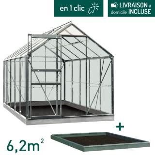 Serre verre 6,2 m² en aluminium avec embase L000102