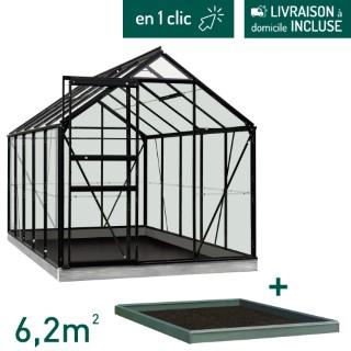 Serre verre 6,2 m² en aluminium noir avec embase L000103