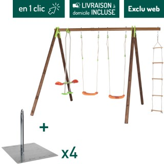 Portique en bois multi-activité avec 2 balançoires, un face à face et une échelle + kit de 4 scellements sans béton L000108