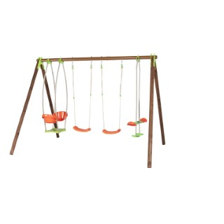 Portique en bois multi-activité avec 2 balançoires, un face à face et une nacelle cocon + kit de 4 scellements sans béton L000109