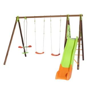 Portique en bois multi-activité avec 2 balançoires, un face à face et un toboggan + kit de 4 scellements sans béton L000110