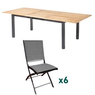 Ensemble repas composé d'une table de jardin rectangulaire et de 6 chaises pliantes L000162