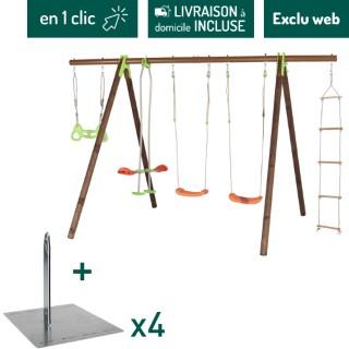 Portique en bois et métal avec deux balançoires, un face à face, une échelle et un trapèze + kit de scellement sans béton L000204