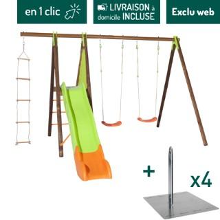 Portique en bois et métal avec deux balançoires, une échelle et un toboggan + kit de scellement sans béton L000205