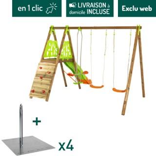 Portique en bois et métal avec deux balançoires, un face à face, un toboggan et un mur d'escalade + kit de scellement sans béton L000207