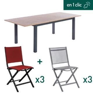 Ensemble repas composé d'une table de jardin rectangulaire en bois et aluminium et de 6 chaises pliantes en aluminium L000213