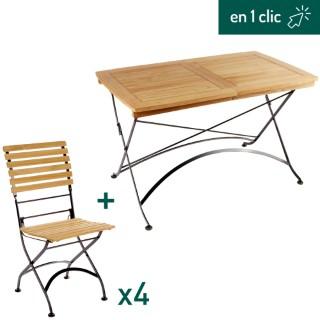 Ensemble repas composé d'une table de jardin Norma rectangulaire pliante et extensible et de 4 chaises pliantes L000214