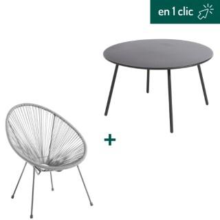 Fauteuil et table basse collection Cardo coloris gris L000218