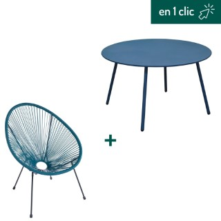 Fauteuil et table basse collection Cardo coloris bleu L000220