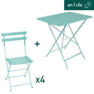 Ensemble de repas de coloris bleu lagune composé d'une table pliante rectangulaire et de 4 chaises pliantes L000226