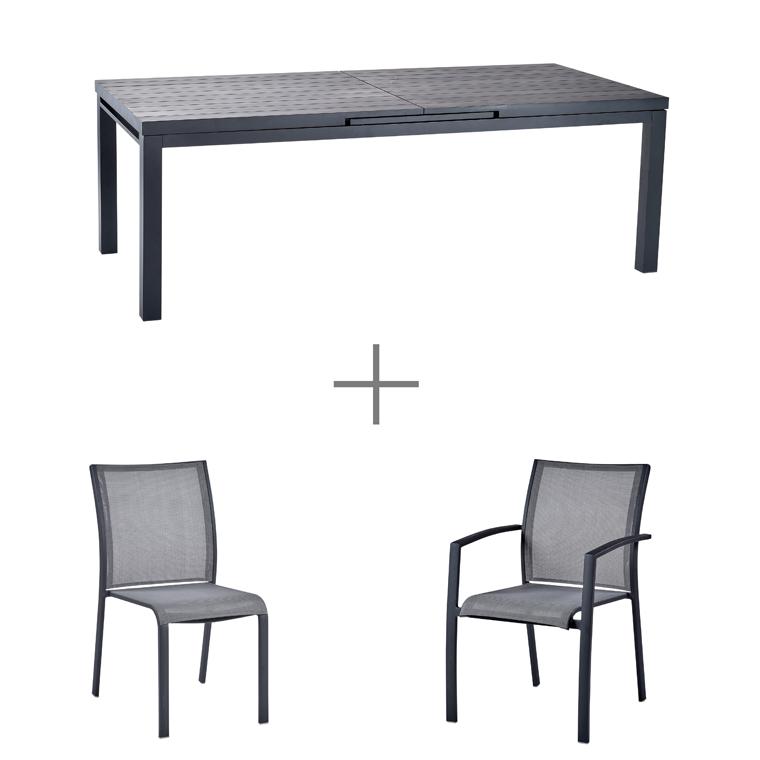 Ensemble repas avec une table Carlina grise en aluminium 220cm, 6 chaises Carlina grises et 2 fauteuils Carlina gris. L000062