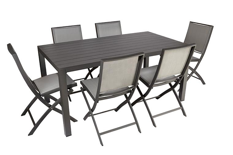 Ensemble repas Carlina avec table 165 cm et 6 chaises L000083