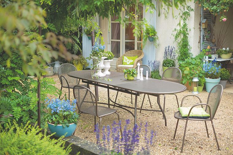 Ensemble repas avec 1 table Evo et 6 fauteuils Ronda L000084