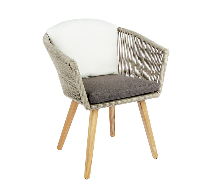 Ensemble repas Orchis avec une table finition ciment 220 cm et 6 fauteuils L000088
