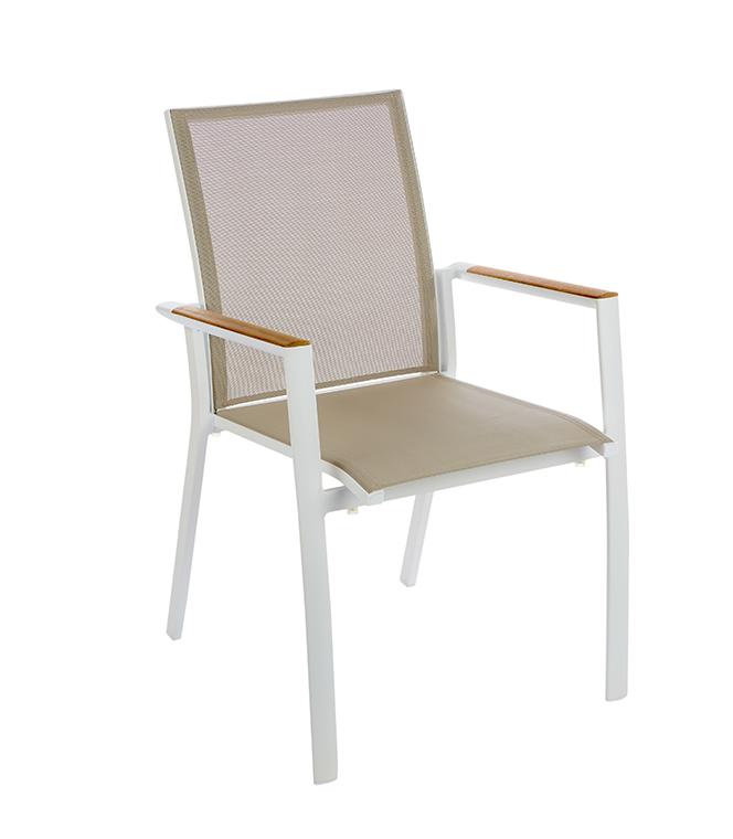 Ensemble repas Ibéris avec une table en teck 220 cm et 8 fauteuils L000089