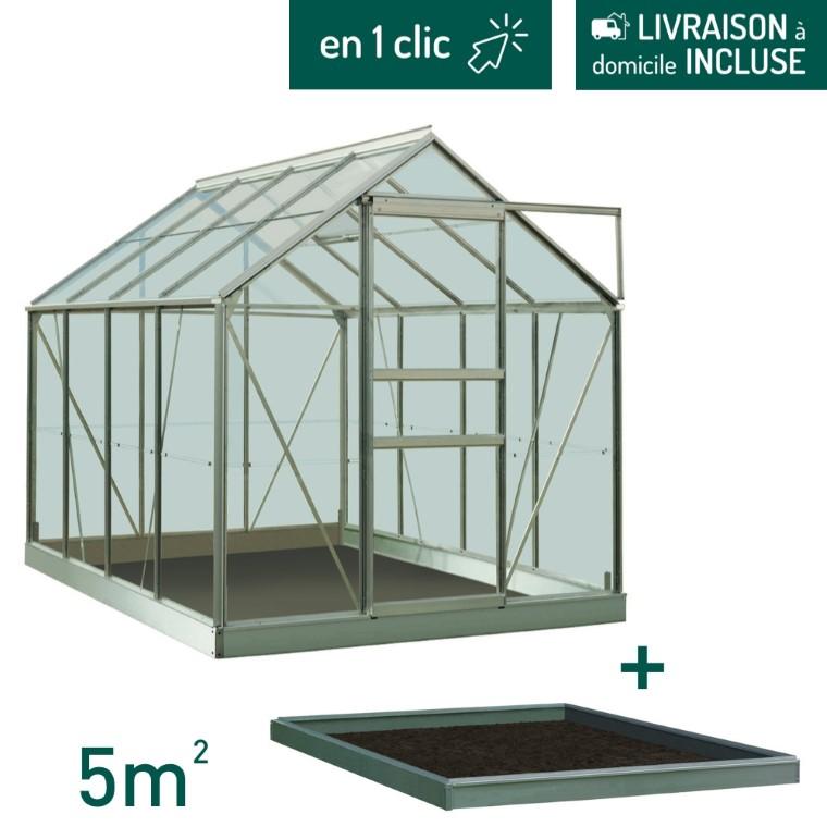 Serre verre 5 m² en aluminium avec embase L000100