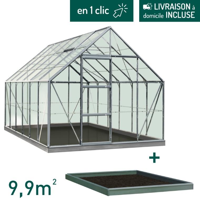 Serre verre 9,9 m² en aluminium avec embase L000104