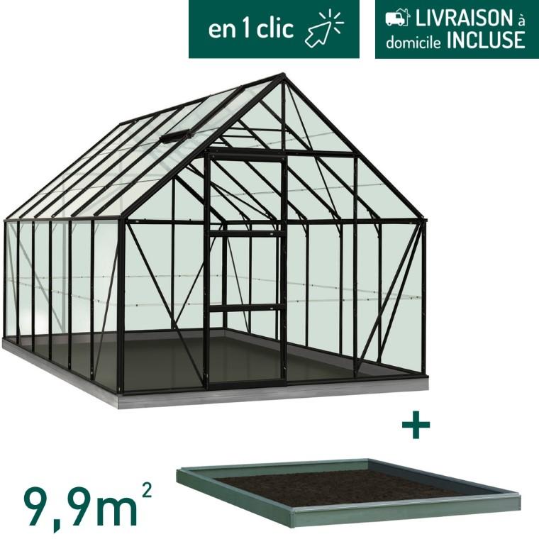 Serre verre 9,9 m² en aluminium noir avec embase L000105