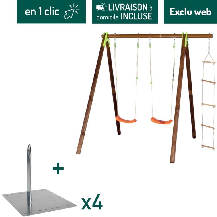Portique en bois avec 2 balançoires et une échelle + kit de 4 scellements sans béton L000107