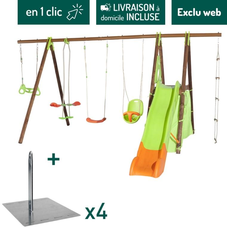 Portique en bois multi-activité dont balançoire, toboggan et cabane + kit de 4 scellements sans béton L000111