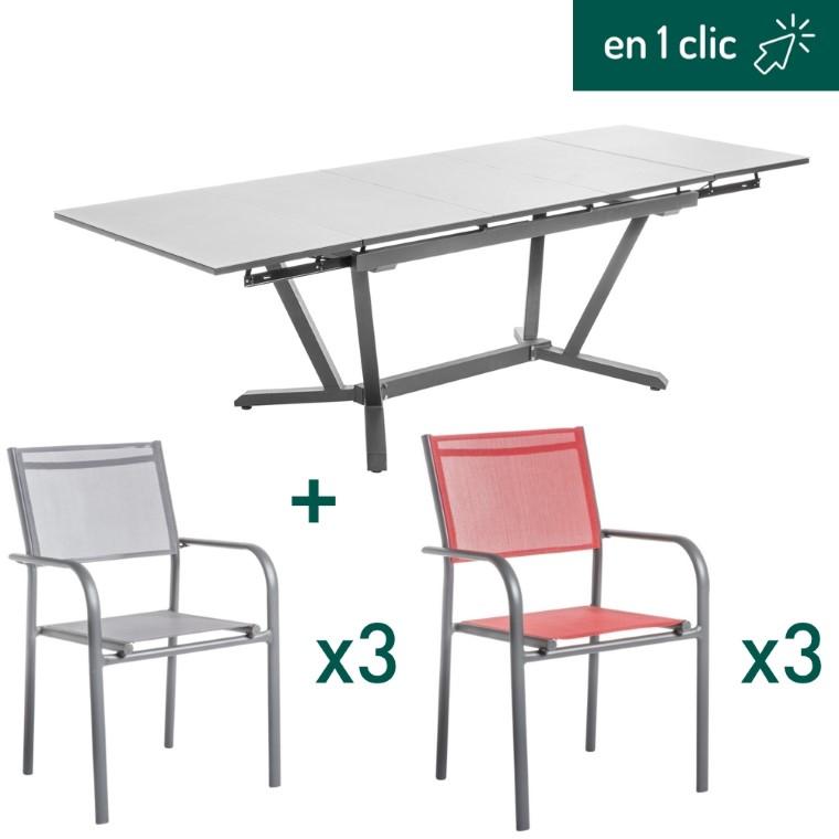 Ensemble repas composé d'une table de jardin Niello rectangulaire et extensible et de 6 fauteuils en aluminium L000215