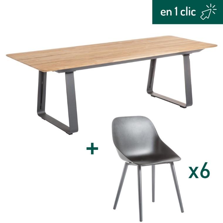 Ensemble de repas composé d'une table de jardin Ora rectangulaire et de 6 chaises coques L000217