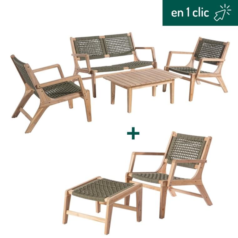 Salon de jardin Hysope kaki naturel composé d'une banquette, de trois fauteuils, d'un repose-pieds et d'une table basse L000225
