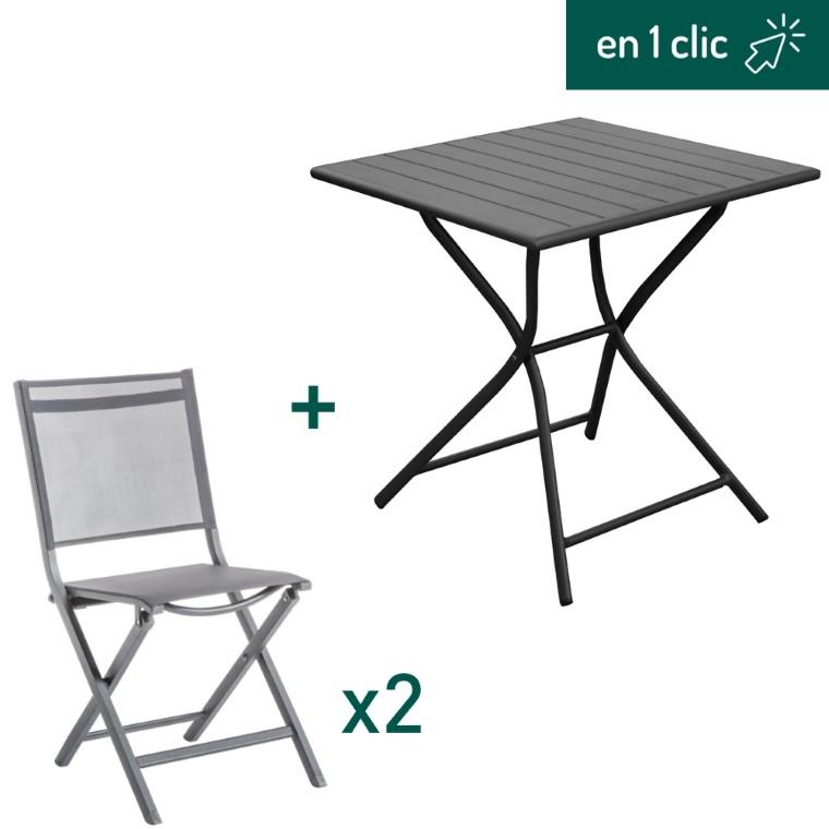 Ensemble de repas Max gris composé d'une table pliante carrée et de 2 chaises pliantes L000227