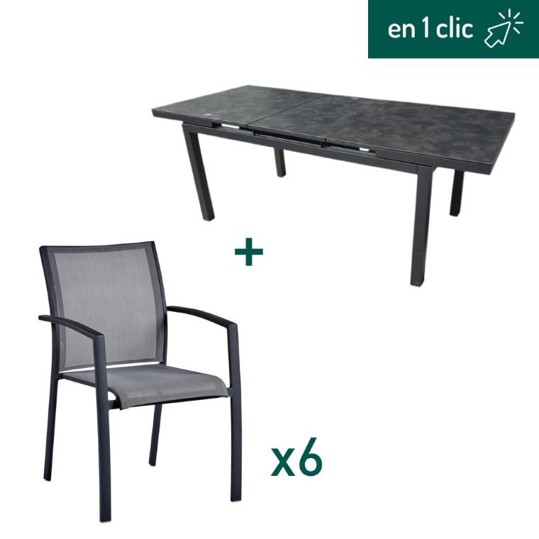 Ensemble de repas Carlina noir et gris composé d'une table extensible et de 6 fauteuils L000228