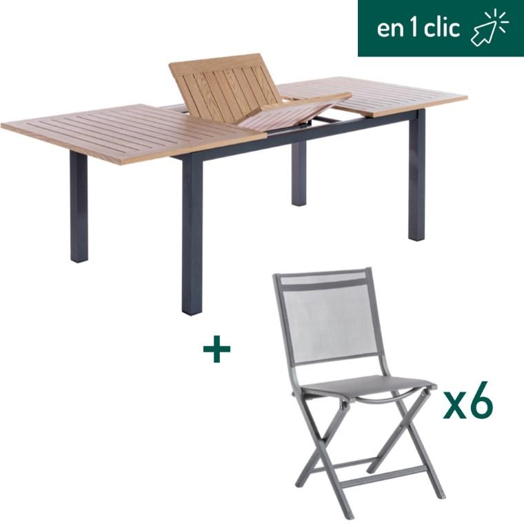 Ensemble repas composé d'une table de jardin rectangulaire et de 6 chaises pliantes grises L000260