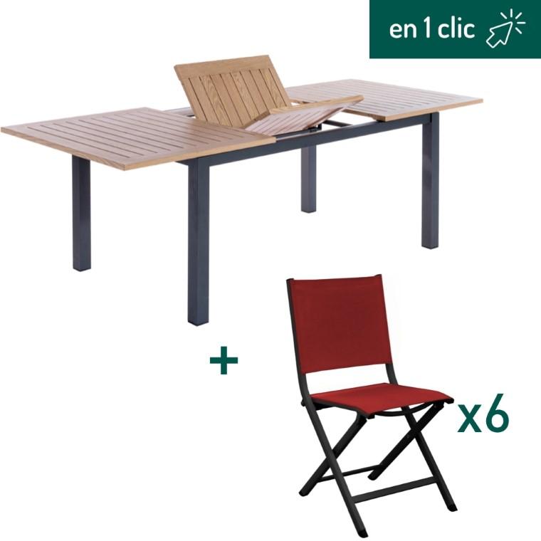 Ensemble repas composé d'une table de jardin rectangulaire et de 6 chaises pliantes rouges L000261