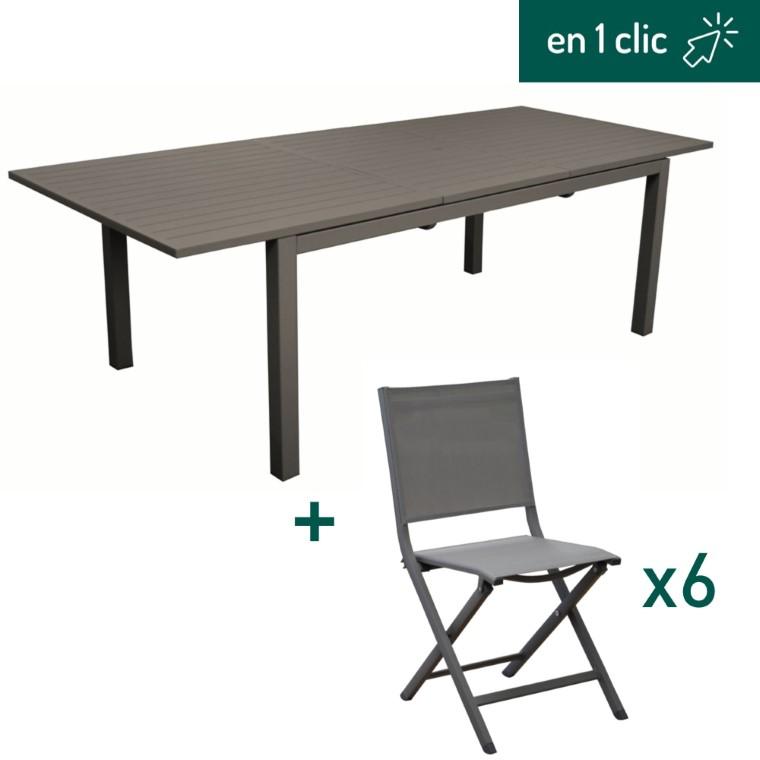Table caméline à rallonge 180/240x98x75cm et 6 chaises pliantes Max en aluminium coloris café L000265