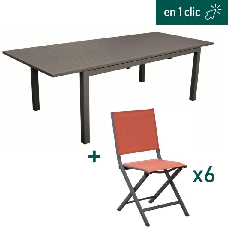 Table caméline à rallonge coloris café 180/240x98x75cm et 6 chaises pliantes Max en aluminium coloris paprika L000266