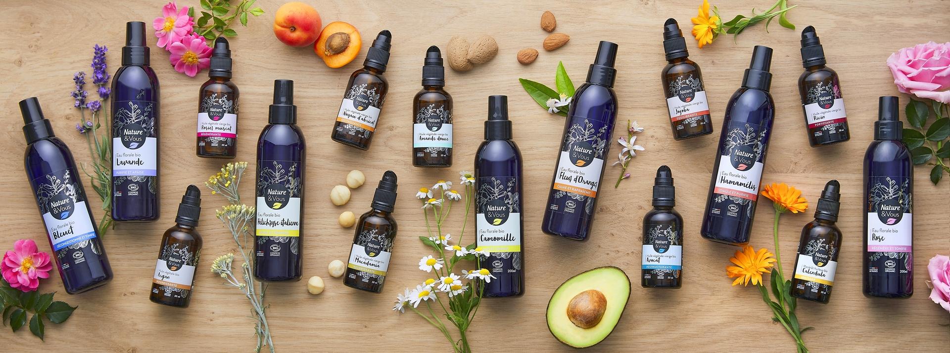 Les huiles végétales et les eaux florales bio Nature et Vous