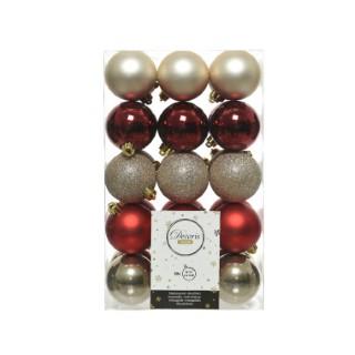 Boîte de 30 boules de Noël en plastique Ø 6 cm 5 coloris assortis