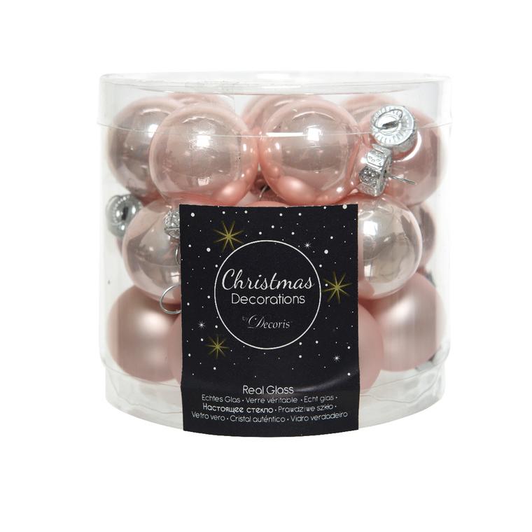 Boite de 24 mini-boules en verre rose poudré émaillé et mat - Ø.2,5 cm 122252
