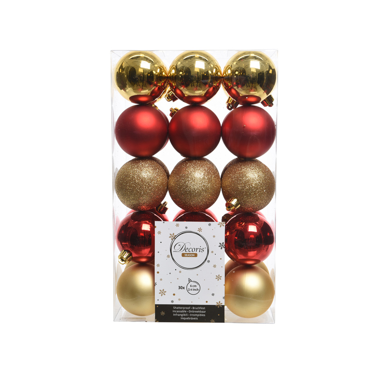 Boite de 30 Boules en plastique couleur rouge et doré - Ø 6 cm 357528