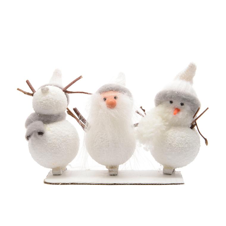 3 bonhommes de neige blanc sur pince – 10 cm de haut