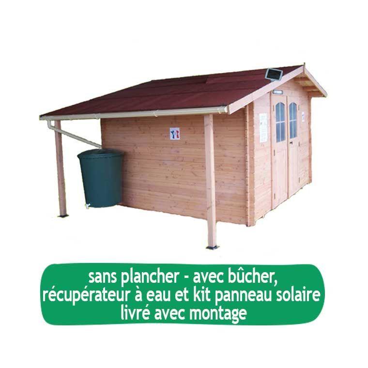 Abri de jardin ATLAS avec récupérateur eau, bêcher et sans plancher / livré et monté