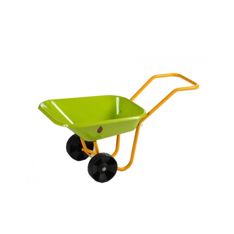 Brouette en métal pour enfant verte