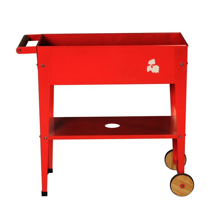 Potager urbain à roulettes rouge L 75 x l 35 x H 80 cm
