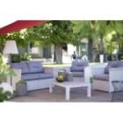 Salon bas de jardin Inspiration alu, 1 table, 2 fauteuils, 1 banquette
